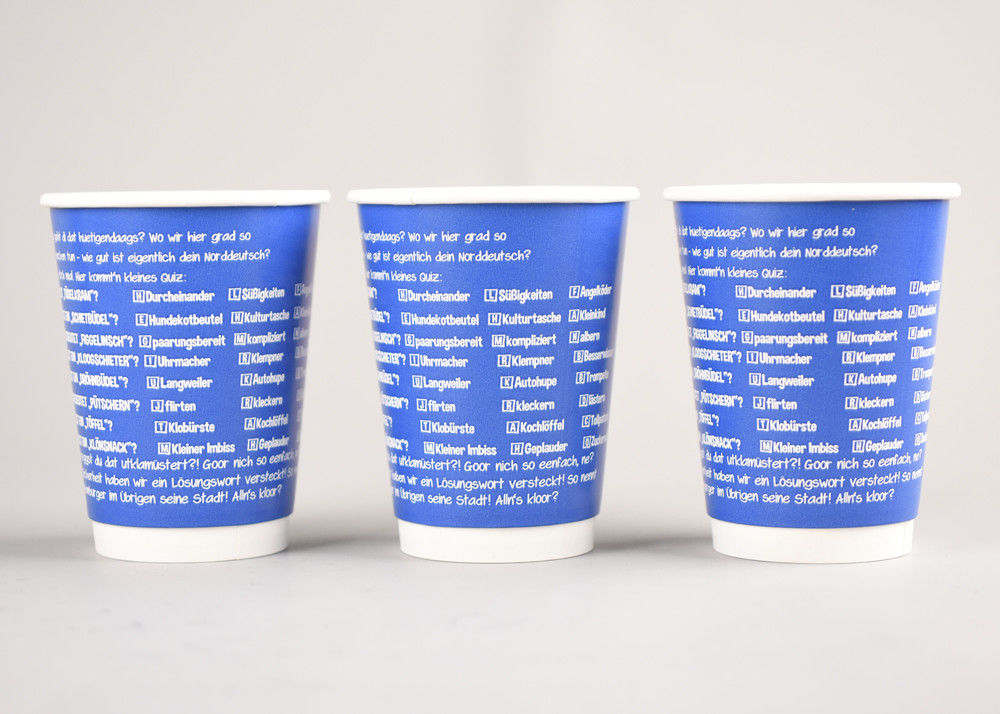 Blue Branded Coffee Cups Disposable Hot Beverage Cups 8oz 12oz 16oz Size