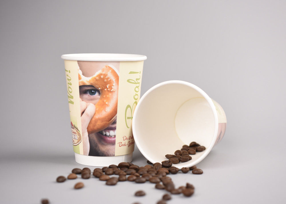 Branding Double Walled Disposable Coffee Cups For Bakeries , Heat Insulation